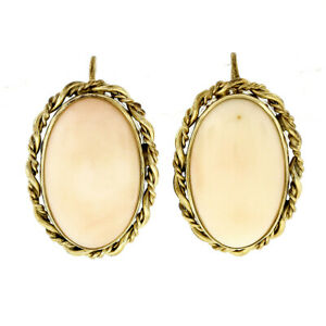 Vintage 14k Gold Oval Cabochon Pink Angel Skin Coral Twisted Frame Drop Earrings