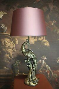Elegante Lamp Desk Lamp Lampfoot Peacock Gold Lampshade Antique Pink Satin 61cm