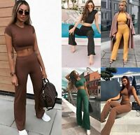 Womens Ladies Ribbed Crop Top Bottom Loungewear Suit 2PCS Co-ord Tracksuit Set