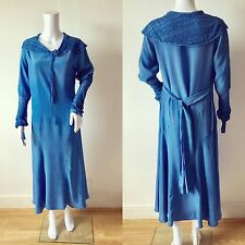 Beautiful 1920s 1930s French Blue Silk Deco Dress Lace Sailor Collar Vintage