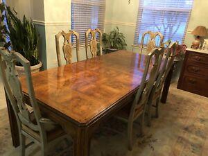 DREXEL HERITAGE FORMAL DINING ROOM SET SKETCHBOOK COLLECTION ASIAN PAINTED