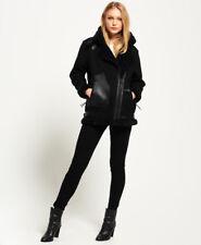 Para mujer BNWT fue £ 195 Superdry Negro de Lana Imitación Piel De Cordero Abrigo Chaqueta de motorista 14/16