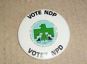 Union Button / Pin -  Paper Workers - VOTE NDP - 2