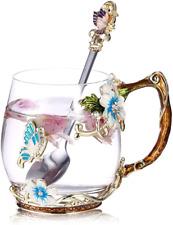 Luka Tech Handmade Enamel Butterfly Flower Glass Coffee Mugs Tea Cup with Spoon,