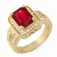 Vintage 3.2 ct natural ruby & diamond ring 14k gold