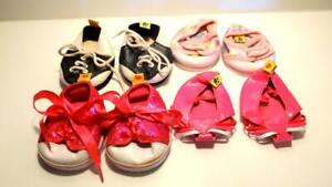 Build a Bear 4 Pairs of Shoes Sandals, Sequin & Rainbow Sneakers, B/W Loafers