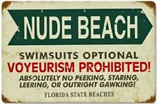 Nude Beach Swimsuits Optional rusted steel sign 460mm x 300mm (pst)