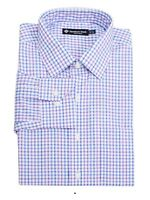 Dress Shirt Classic Fit 17.5 32.33 Blue Purple White Plaid Members Mark