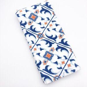 Pottery Barn Blue & Orange Print Organic Turkish Cotton Hand Towel Medallion