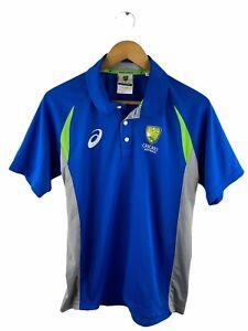 Cricket Australia Polo Shirt Adults Size M Blue Short Sleeve Asics Logo Collared