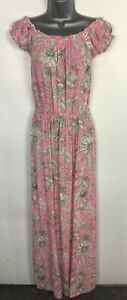 WOMENS COLLECTION PIMKIE PINK WHITE FLORAL OFF SHOULDER MAXI DRESS SIZE SMALL
