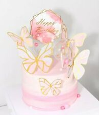 6pcs Happy birthday geometric butterflies cake topper butterfly cupcake toppers