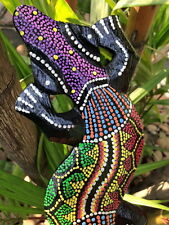 FIGURE ANIMAL GECKO LIZARD WOODEN HOME DECOR PAINTED CARVED WALL HANGING PLAQUE