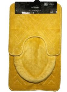 ARIZONA YELLOW  3PC BATHROOM SET RUG CONTOUR MAT TOILET LID COVER