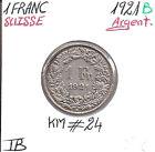 SUISSE - 1 FRANC - 1921 B - Pièce de Monnaie en Argent // Qualité: TB