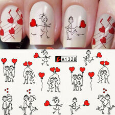 16Sheets Valentine's Day Nail Water Decals DIY Heart Transfer Nail Art Stickers