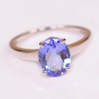 Natural Blue Tanzanite 1.60 Carat Oval Shape 14KT White Gold Solitaire Ring