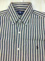 POLO RALPH LAUREN - Yellow & Indigo Blue Striped L/S Oxford Shirt, Mens MEDIUM