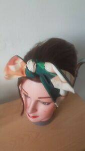 HEAD SCARF HAIR BAND DARK GREEN PEACH ROSES FLORAL STRETCH  ROCKABILLY  PIN UP