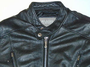 WILSONS LEATHER BLACK MOTORCYCLE JACKET! CAFE RACER! SIDE LACING! ZIPPERS! XL
