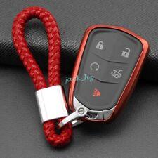 Car Key Fob Cover Chain Ring Case For Cadillac CT6 XT4 XT5 XT6 ATS CTS XTS Red