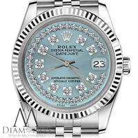 Rolex 36mm Datejust Ice Blue String Diamond Dial Watch with Fluted Bezel