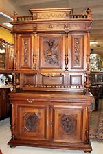 Exquisite French Antique Walnut Henry II Buffet / Sideboard Cabinet with Hutch
