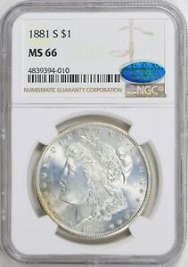 1881-S $1 Morgan Silver Dollar, NGC MS 66, CAC Approved