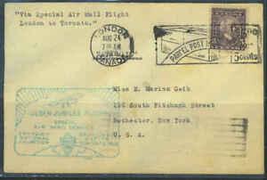 CANADA 1928 EARLY SPECIAL FLIGHT LONDON TO TORONTO