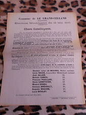 AFFICHETTE - Commune de LE GRAND-CELLAND (50) - Elections municipales 12/05/1935