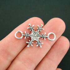 6 Snowflake Connector Charms Antique Silver Tone 2 Sided - XC112