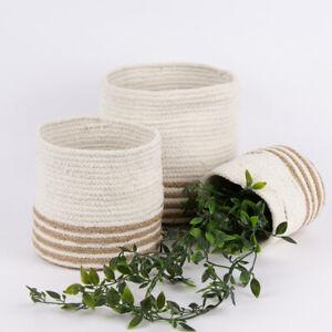 Aufbewahrungskorb geflochten Baumwolle Jute weiß natur verschiedene Größen
