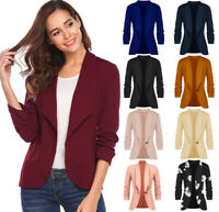 Fashion Women Coat Slim Blazer 3/4 Sleeve Jacket Short Formal OL Suit Outwear