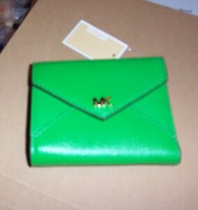 MICHAEL KORS New Small Green Pebble Leather Trifold Flap Wallet Ret.$98, NWT