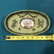 "Decorative Porcelain 9"" by 5"" Oval Dish with brass feet"