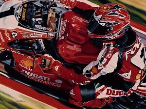 Carl Fogarty 90 x 70 cms limited edition Superbike art print by Colin Carter