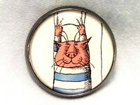 "1"" Edward Gorey Illustration Kitty Cat Literary Nonsense Book Sewing Button EG78"