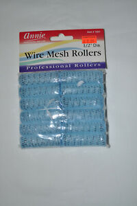 "NOS Annie Wire Mesh Rollers X-Small 12 Count 1/2"" Blue #1021"