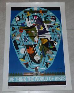 "Charley Harper Signed ""We Think The World Of Birds"" Poster - Cornell Ornithology"