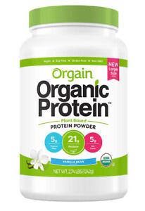 ORGAIN 2.74 Lbs ORGANIC PROTEIN PLANT BASED 21g PROTEIN POWDER Vanilla Bean