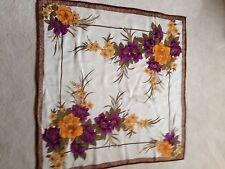 "Vtg THAI 100% Silk Scarf purple, olive, gold on cream 34x34"" Thailand handroll"