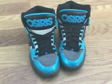 OSIRIS NYC 83 PATENT LEATHER BLACK/AQUA SKATER SHOES USED SZ 9 US