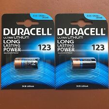 2 x Duracell Ultra CR123 CR123A 123 3V Lithium Photo Camera Battery Expiry 2026