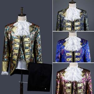 Mens Uniform Jacket Pants Halloween Party King Prince Cosplay Costumes Full Set