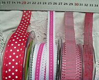 ROSE PINK & WHITE 15,16 & 17mm Wide - 2, 3 & 5 Metres 4 Design Style Choice