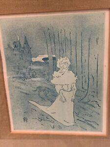 Toulouse Lautrec 1895 lithograph Le Chatelaine or Le Tocsin signed In monogram