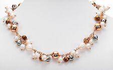 "Honora Cultured White Pearl Rose Bronze Bead dangle Necklace 18""L + 2"" extender"