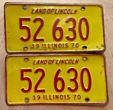 """1970 ILLINOIS LICENSE PLATE 2 PLATES MATCHING PAIR """" 52 630 """" IL 70 LAND LINCOLN"""