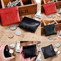 Ladies Women Men Leather Strong Menta Closure Snap Top Coin Purse Pouch Wallet
