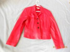 Jacket, Leather, Anne Taylor, Solid, Women, red, Size 10, lined, pocket's